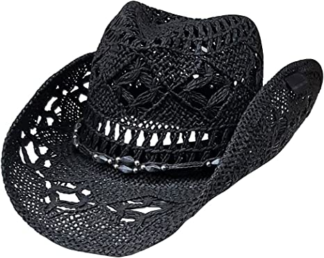Modestone Unisex Straw Cowboy Hat Black