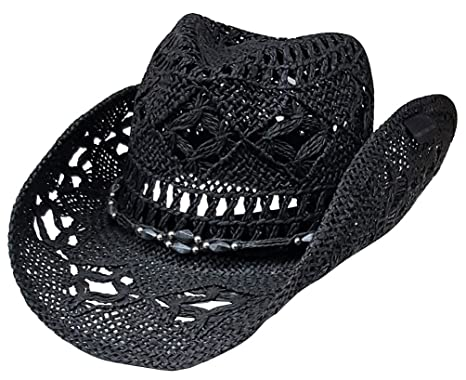 98ffca5ece1 Modestone Unisex Straw Cowboy Hat Black  Amazon.co.uk  Clothing