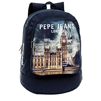 Pepe Jeans Mochila Adaptable a Carro, Diseño London, Color Azul, 22.85 litros: Amazon.es: Equipaje
