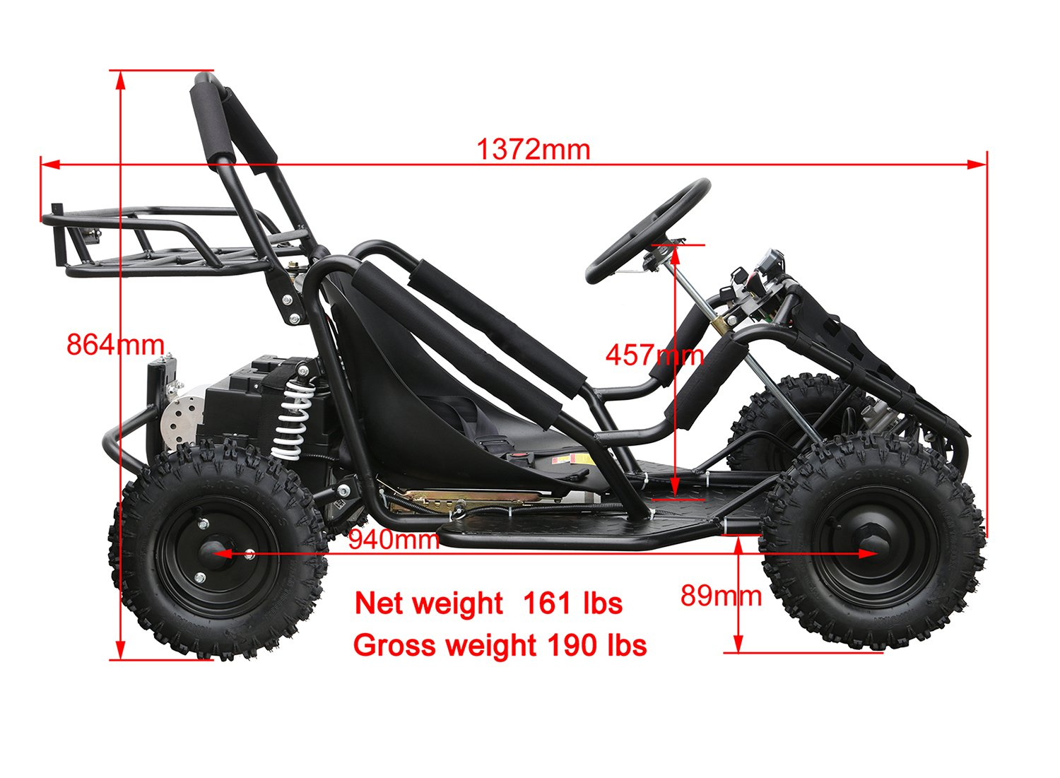 JCMOTO Electric Go Karts For Kids 4 Four Wheelers Off Road Tire 48v 1800w Black (Upgraded versions) by JCMOTO (Image #5)