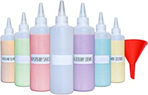 Plastic Condiment Squeeze Squirt Bottles for Sauces with Leak-Proof Cap (7-pack) with Writable Exterior and Funnel | Ideal for Ketchup, Liquids, Paint, Workshop and Pancake Art (8 oz)