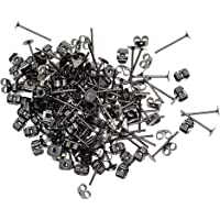 Lovoski 100Pairs 4mm Round Flat Stud Earring Posts With Back Jewelry Making Supplies