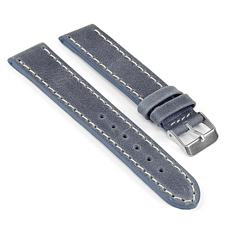 StrapsCo 青 ヴィンテージスタイルの時計ストラップ 白の輪郭ステッチ付 22mm  B01LYHLIP0