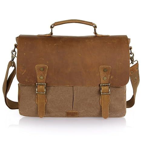 7fdd3c542 Amazon.com: Lifewit Men's Briefcase Vintage Leather Laptop Bag Canvas  Messenger School Satchel Work Bags Fit up to 15.6-Inch, Coffee: Computers &  ...