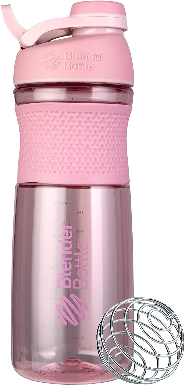 BlenderBottle SportMixer Twist Cap Tritan Grip Shaker Bottle, 28-Ounce, Rose