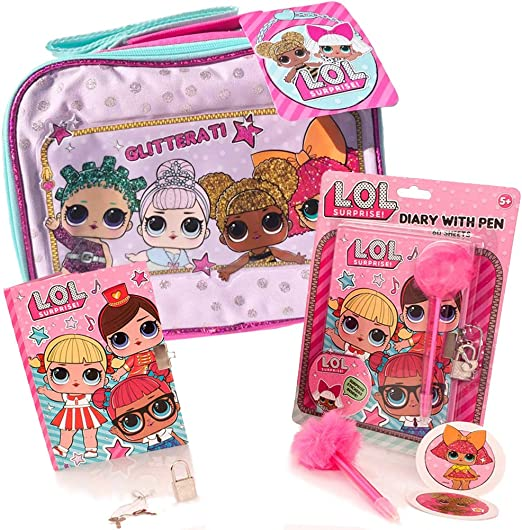 Amazon Com Lol Surprise Lunch Box 4 Pack Bundle With Lol Dolls Glitter Lunch Bag L O L Diary Lol Surprise Glam Pen And Lol Surprises Stickers New Lol Series Holiday Stocking Stuffer Toys For