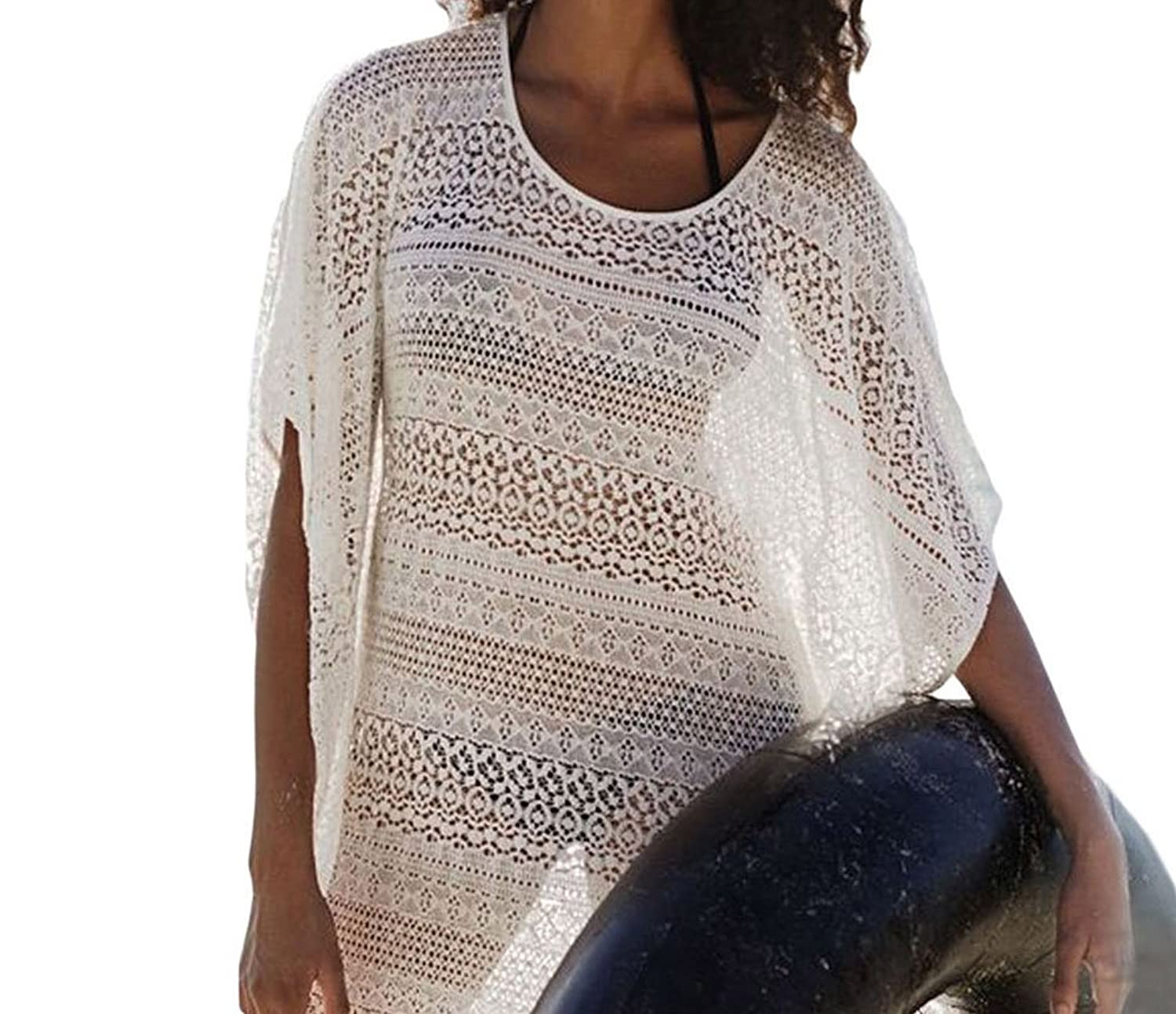 Bling-Bling White Lace Hollow-out Beach Cover-up Dress with Fringe