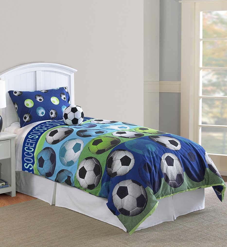 amazing Soccer Comforter Full Part - 3: Hallmart Kids 64015 4-Piece Soccer Comforter Set, Full, 4-Piece