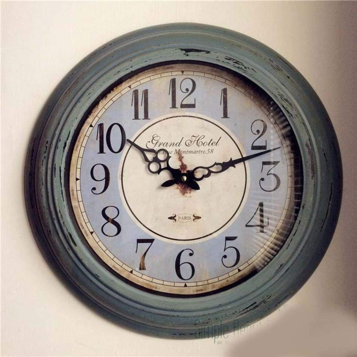Mings Hermosa y Practica Reloj de Pared Simple Silencio Sala de Estar Reloj de Pared Reloj Retro de Hierro Forjado con Antiguo Reloj de Pared