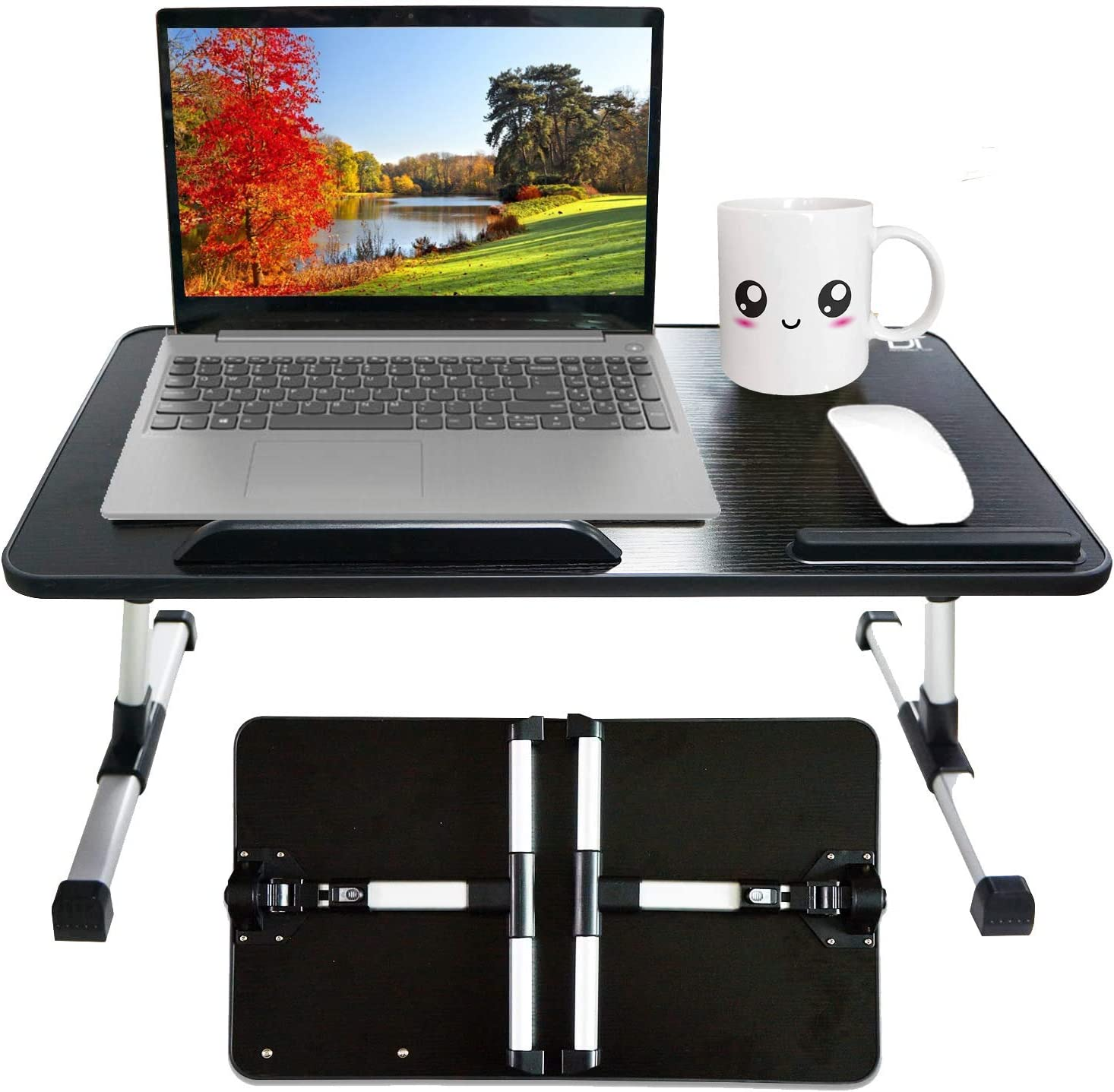 Bed Desk for Laptop and Writing - Height Adjustable Computer Laptop Stand for Reading, Writing, Home Office Working and Gaming on Sofa Couch Floor - Portable Lap Tables with Foldable Legs for Eating