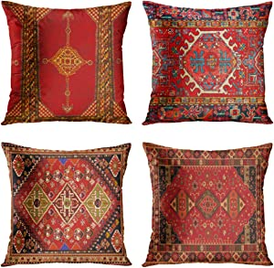 Britimes Throw Pillow Covers Home Decor Set of 4 Pillow Cases Decorative 18 x 18 Inches Outdoor Cushion Couch Sofa Pillowcases Colorful Red Tribal