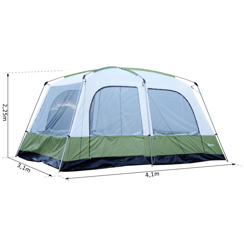 06e001705d4752 Outsunny Tente de Camping familiale 4-8 Personnes 4 fenêtres 2 Portes 2  cabines XXL 4,1L x 3,1l x 2,25H m Vert Blanc  Amazon.fr  Sports et Loisirs