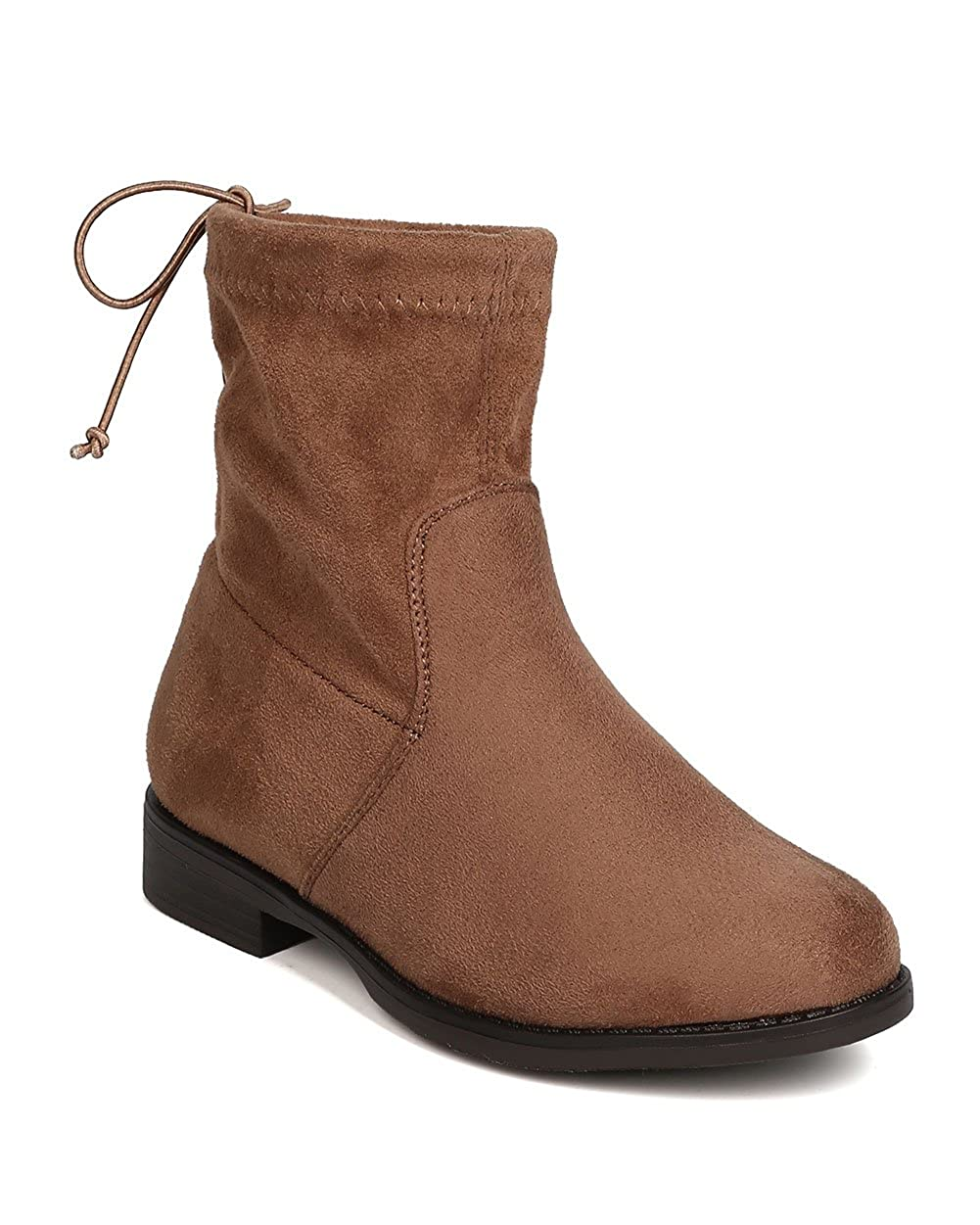 Girls Faux Suede Drawstring Back Tie Riding Bootie FG46 Betani