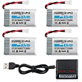 Crazepony 3.7V 680mAh Drone Lipo Battery for Syma X5 X5C X5C-1 X5SW X5SW-V3 UDI UFO 3000 SNAPTAIN S5C FQ36 MJX X708 X708W Force1 U45 U45W T5W JJRC H42 SS40 GoolRC T32 RC Drone Battery with X4 Charger