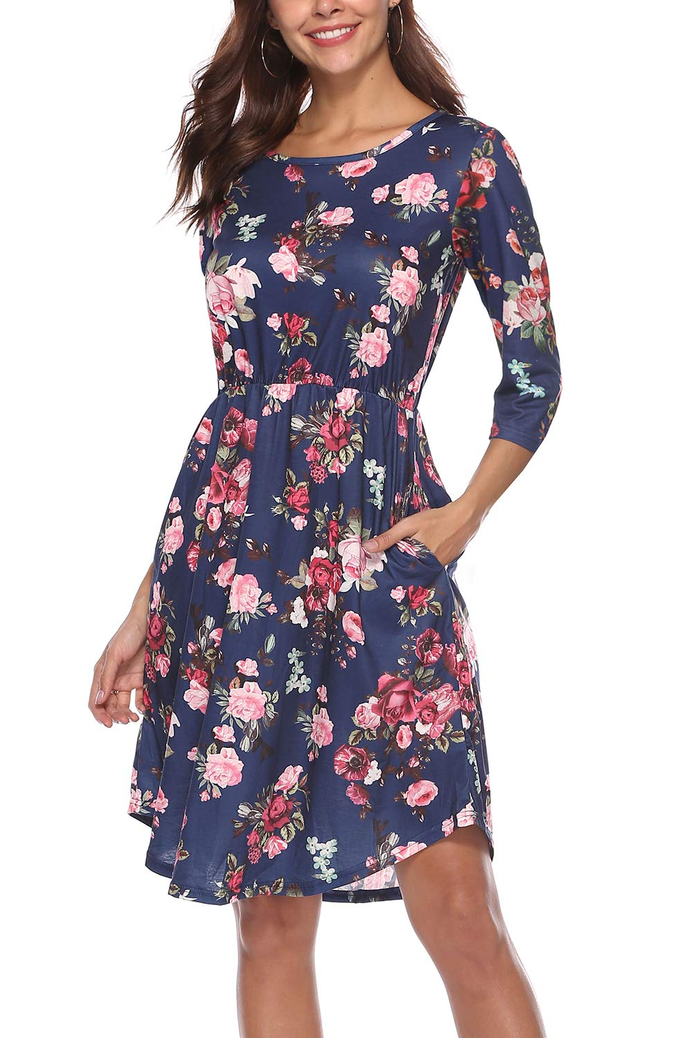 NICIAS Women Floral 3 4 Sleeve Tunic Vintage Midi Casual Dress with Pockets Navy L