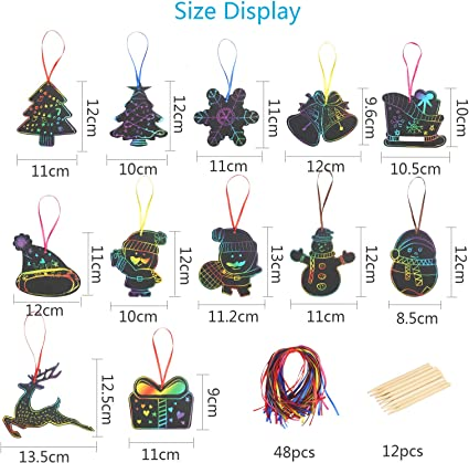 48 St/ück Bastelset Weihnachten Kratzbilder DIY Kratzpapier Weihnachtsmotiv Scratch Paper Karte f/ür Klassenzimmer Spiel Weihnachten DIY Bastelgeschenke. Amycute Scratch Off Art Set