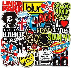 100Pcs Band Stickers Pack Rock Roll Stickers Decals Laptop Cars Guitar Bumper Punk Classic Vinyl Waterproof Graffiti Music Sticker