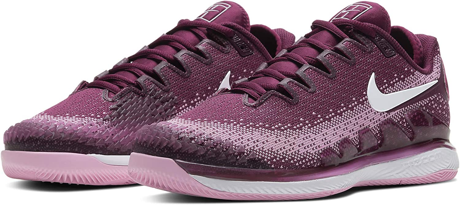 Nike WMNS Air Zoom Vapor X Knit, Chaussures de Tennis Femme Bordeaux/White-pink Rise