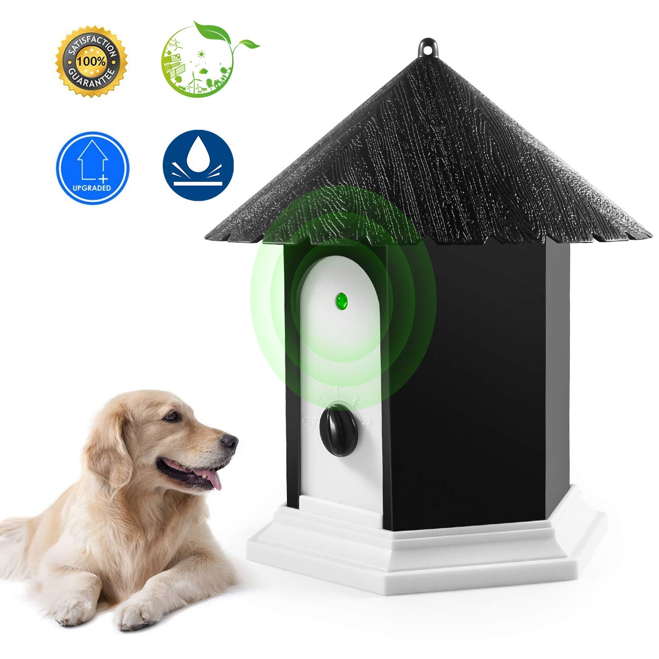 Anti Barking Device, Waterproof Indoor Outdoor Bark Control Device with Adjustable Ultrasonic Level Control Safe for Small Medium Large Dogs