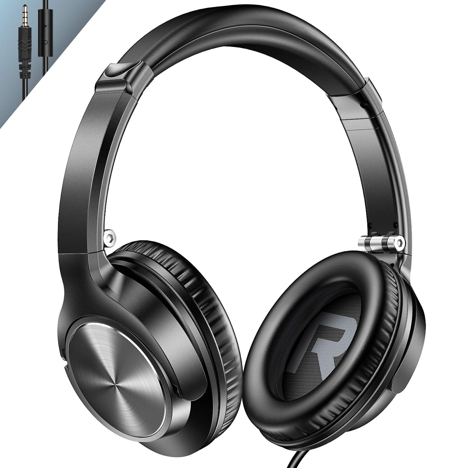 Vogek Over Ear Headphones with Mic, Lightweight Portable Foldable Stereo Bass Wired Headphones with 1.5M Tangel Free Cord and Microphone for Cellphone Tablet Laptop Computer- Black