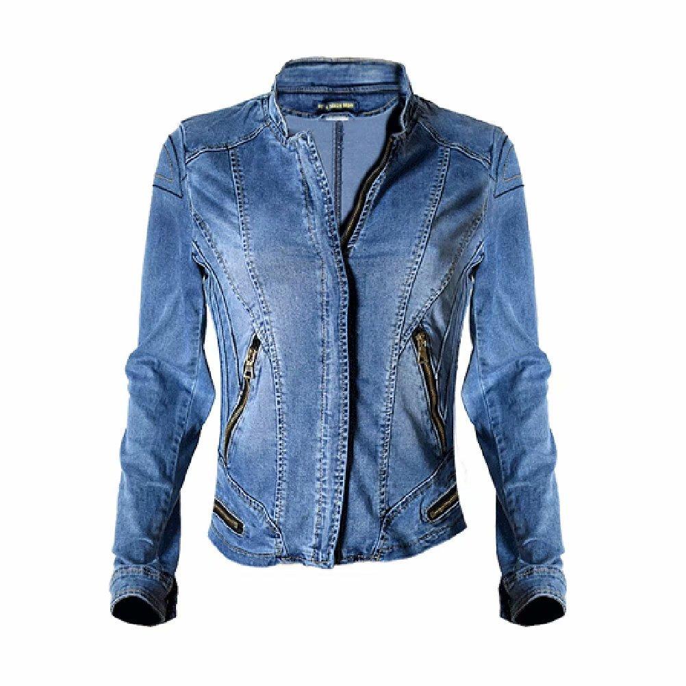 SUSIELADY Womens Stand Collar Moto Stretch Denim Jean Jacket Baseball Trucker Coat Casual Long Sleeve Top Jeans