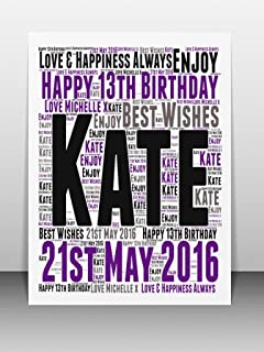 Personalised 13th Birthday Word Art Greeting Card Details Required PLEASE REFER TO IMAGE SECTION