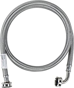 Certified Appliance Accessories Washing Machine Hose with 90 Degree Elbow, Hot or Cold Water Supply Line, 6 Feet, PVC Core with Premium Braided Stainless Steel