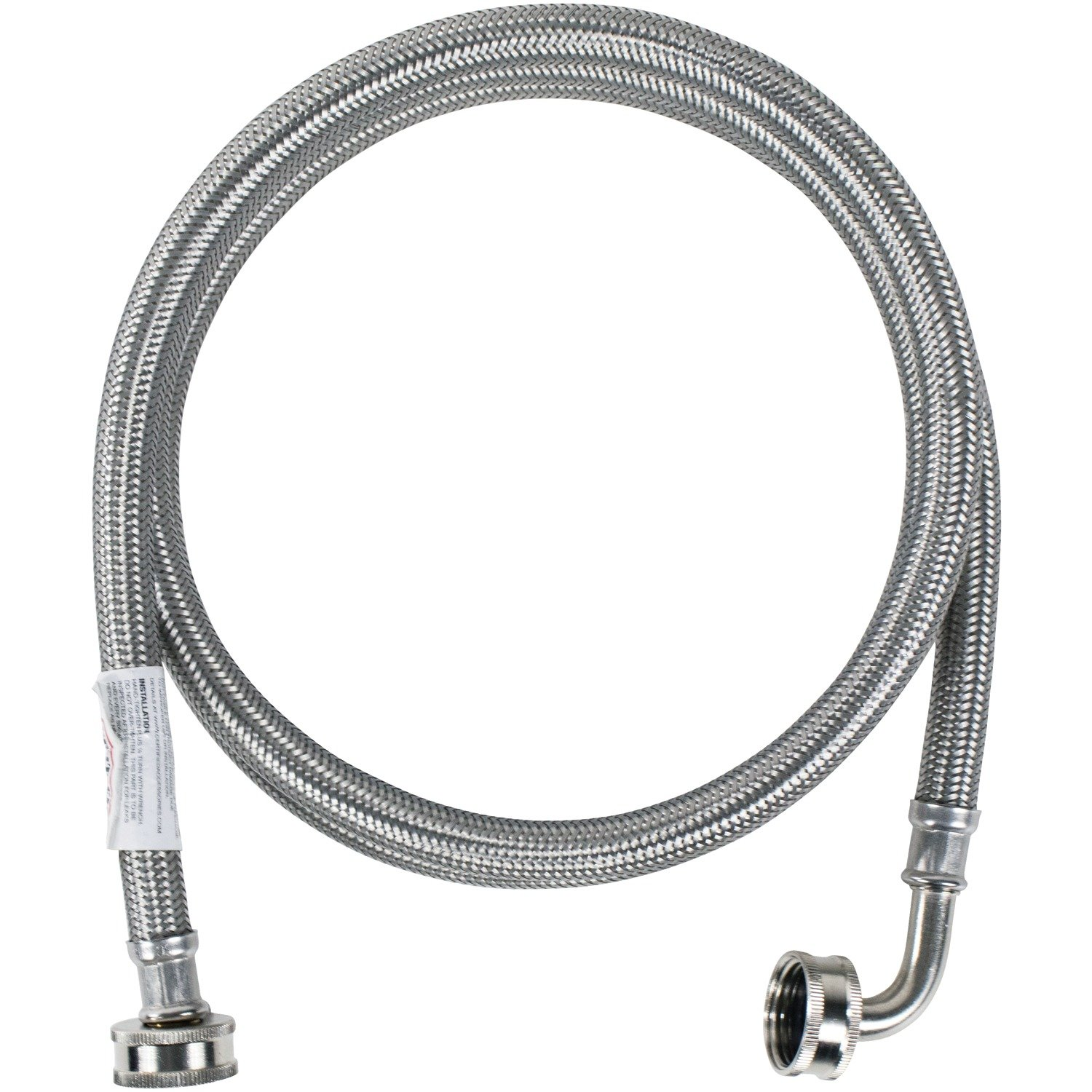 Certified Appliance Accessories WM48SSL Braided Washing Machine Hose with Elbow