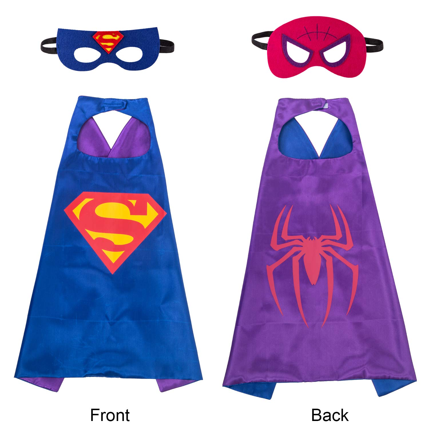 amasky Superhero Dress Up Costume Set, Double-Sided Satin Capes with Felt Masks for Kids, One Set Plays Double Roles (Superman-Spiderman)