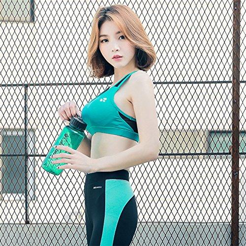 YARBAR Mujeres de alto impacto de malla de malla con copas extraíbles Sports Bra Verde