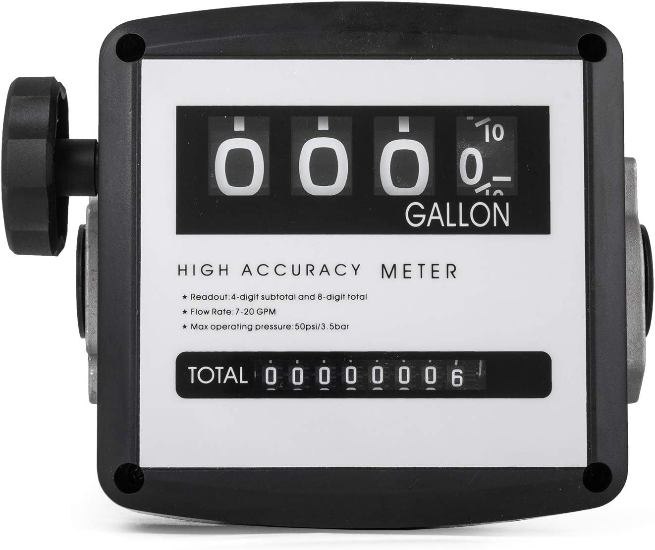 Bestauto Mechanical Fuel Meter 7 to 20 GPM Digital Diesel Fuel Flow Meter Black Fuel Meter Diesel For All Fuel Transfer Pumps 10Bar