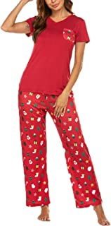 Image of Cute Short Sleeve Red Christmas Print Pajamas for Women
