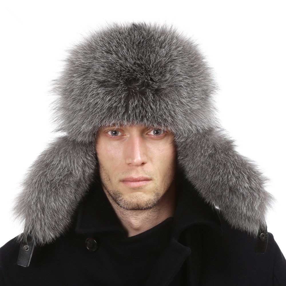 Genuine Women Men Raccoon Fur Russian Winter Bomber Hats with Genuine Leather Tops Bellefur