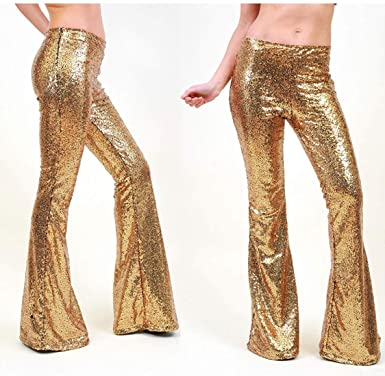49ac5f6b94e143 AZZAVERA Gold Sequin High Waist Flare Pants Bell Bottoms Wide Leg Long  Palazzo Yoga Harem Pants