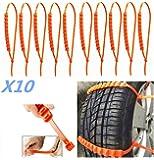 10cadenas de nieve para el coche, antideslizantes, para colocar en el neumático con ajuste universal, ancho 175–295 mm.