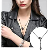 Daily Skull Cross Pendant Necklace Gothic Long Necklaces for Women