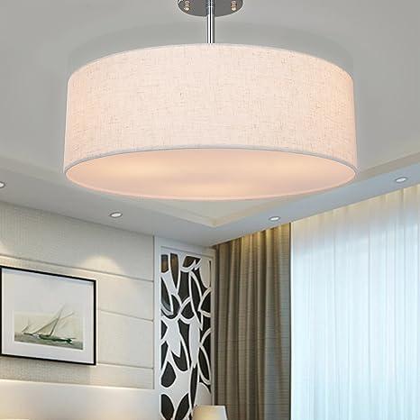 SPARKSOR Lámparas, lámpara de techo cromada mate, pantalla ...