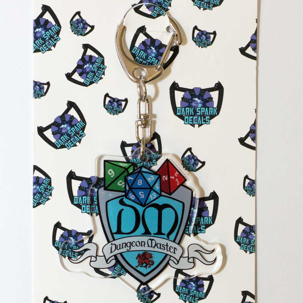 DM Dungeon Master Shield 2 Acrylic Keychain Great for the Tabletop Gamers