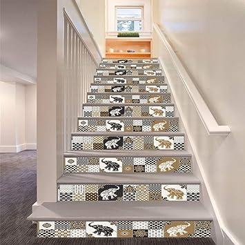 Sencillo Vida 3D Pegatinas de Escalera Antideslizante Impermeable auto adhesivo pegatina de pared vinilo decorativo Stair Sticker Steps Sticker Ceramic Tiles Patterns, 6Pcs/Set (A): Amazon.es: Bricolaje y herramientas