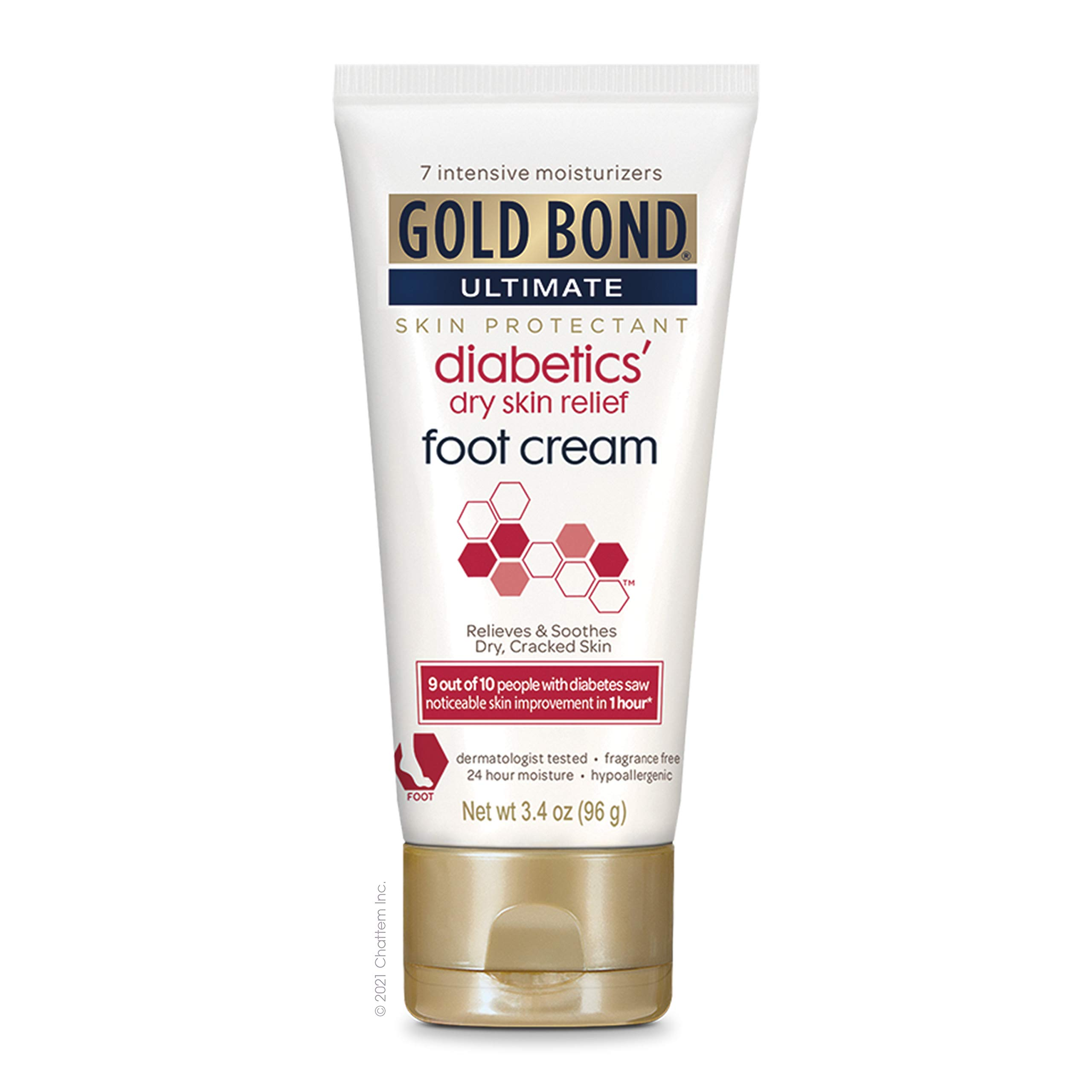 Gold Bond Ultimate Diabetic Skin Relief Foot Cream, Fragrance Free, 3.4 Ounce