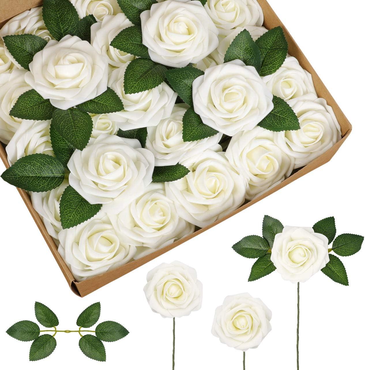 InnoGear Artificial Flowers, 50 Pcs Faux Flowers Fake Flowers Ivory Roses Perfect for DIY Wedding Bouquets Centerpieces Bridal Shower Party Home Flower Arrangement Decorations