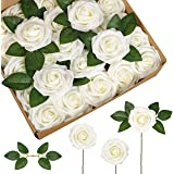 InnoGear Artificial Flowers, 50 Pcs Faux Flowers Fake Flowers Ivory Roses Perfect for DIY Wedding Bouquets Centerpieces…