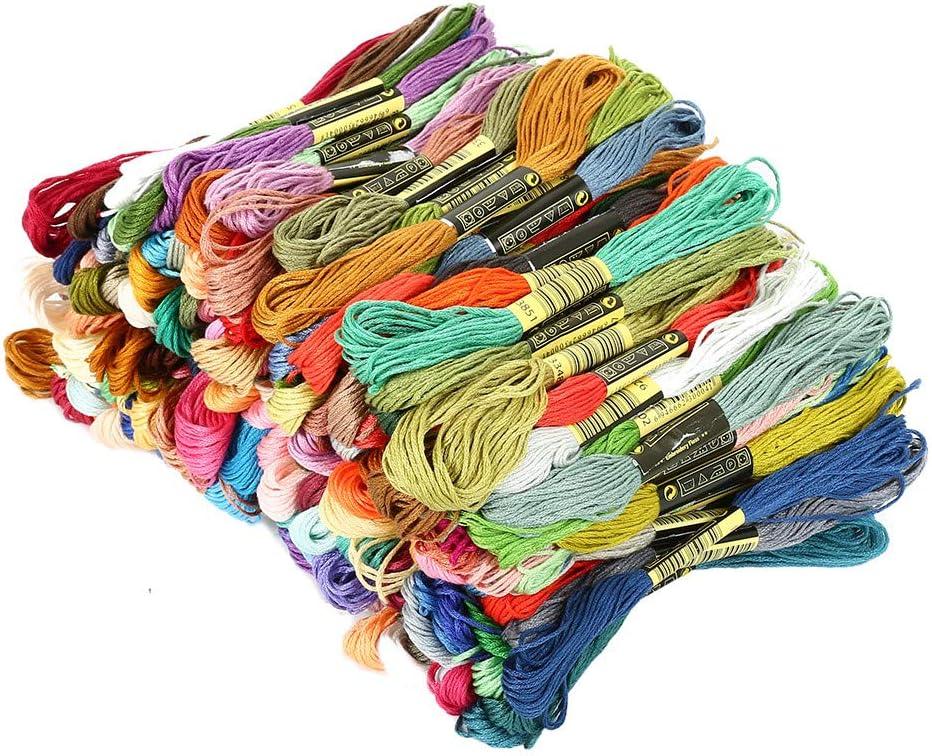 200 madejas de hilo de bordar, 8 m, colores arcoíris, algodón de ...