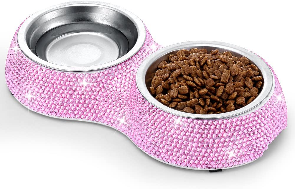 SAVORI Small Cat Bowls Pink, 320ML Handmade Bling Rhinestones Stainless Steel Pet Bowls Removable Double Food Water Feeder for Puppy Cats Dogs