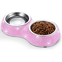 SAVORI Small Cat Bowls Pink, 320ML Handmade Bling Rhinestones Stainless Steel Pet Bowls Removable Double Food Water…