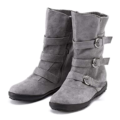 ... con cremallera plana color puro correa de hebilla mantener cálidas botas de nieve Calientes Botines botas militares: Amazon.es: Ropa y accesorios