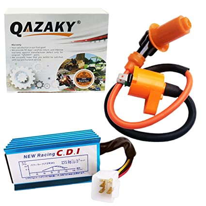 QAZAKY Performance Racing Ignition Coil + 5 Pins CDI GY6 4-Stroke Engine  50cc - 90cc 110cc 125cc 150cc XR50 CRF50 Scooter ATV Go Kart Moped Quad Pit
