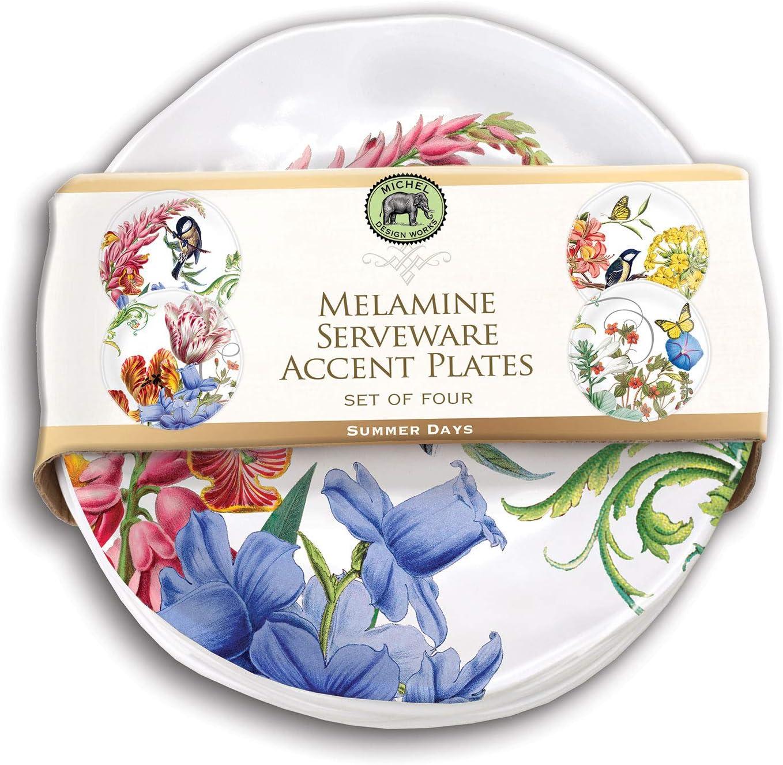 Michel Design Works Melamine Serveware Accent Plate Set of 4, Summer Days