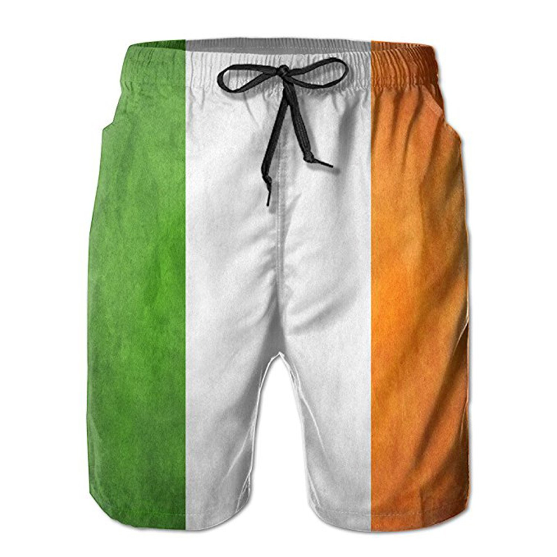 ZMvise Irish Flag Swim Trunks Quick Dry Beach Board Home Water Sports Men's Shorts BJSHORT09378