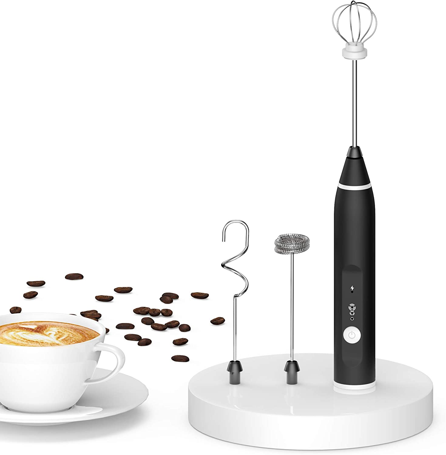 Milk Frother Handheld USB Rechargeable, Electric Whisk Coffee Frother Mixer with 2 Stainless whisks, 3-Speed Adjustable Foam Maker Blender for Coffee Matcha Latte Cappuccino Hot Chocolate Keto Diet